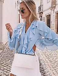 baratos -Mulheres Camisa Social Sólido Azul US2