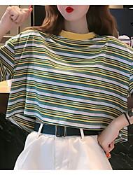 billige -Dame - Stribet T-shirt Grøn US12