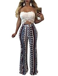 baratos -Mulheres Boho / Moda de Rua Perna larga Calças - Padrão Clássico / Estampado Cinzento M L XL