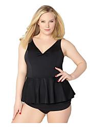 abordables -Mujer Básico Negro Halter Falda Alta cintura Tankini Bañadores - Un Color Estampado XXL XXXL XXXXL Negro
