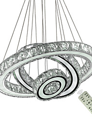Недорогие -современные потолочные светильники светодиодные современные регулируемые из нержавеющей стали 3 кольца лампы (большой кристалл) люстры крытый подвесной светильник потолочное освещение 110-120 В /