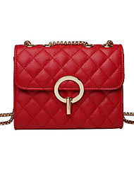 Χαμηλού Κόστους -Γυναικεία Τσάντες PU Σταυρωτή τσάντα Συμπαγές Χρώμα Μαύρο / Ρουμπίνι