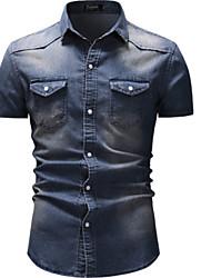 ราคาถูก -สำหรับผู้ชาย เชิร์ต Street Chic ยีนส์ สีพื้น เทาเข้ม XL