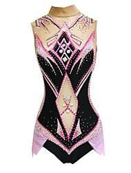 olcso -Ritmikus tornadressz Művészi tornadressz Női Lány Dressz Arcpír rózsaszín Nagy rugalmasságú Kézzel készített Nyomtatott Gyémánt Ujjatlan Verseny Ritmikus gimnasztika Művészi torna