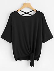 levne -Dámské - Jednobarevné Základní Tričko, Volná záda / Šňůrky Černá US0