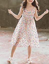 tanie -Dzieci Brzdąc Dla dziewczynek Aktywny Śłodkie Czarny Biały Groszki Wielowarstwowy Siateczka Bez rękawów Do kolan Bawełna Poliester Sukienka Biały