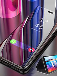 Недорогие -Кейс для Назначение Xiaomi Redmi Note 5A / Xiaomi Redmi 6 Pro / Xiaomi Redmi Note 7 со стендом / Покрытие / Зеркальная поверхность Чехол Однотонный Твердый Кожа PU