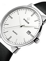 Недорогие -WWOOR Муж. Нарядные часы Японский Японский кварц Натуральная кожа Черный / Синий 30 m Защита от влаги Новый дизайн Повседневные часы Аналоговый На каждый день Мода - Белый Синий