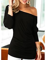 levne -Dámské - Jednobarevné Tričko Černá US2