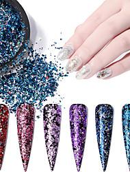 billige -6 pcs Bedste kvalitet Glitter Glitter Til Fingernegl Mode Kreativ Negle kunst Manicure Pedicure Daglig / Festival Stilfuld / Farverig