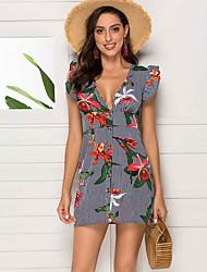 baratos -Mulheres Básico Sofisticado Bainha Vestido Geométrica Acima do Joelho