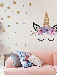 cheap -Wave Point Cute Unicorn Wall Stickers - Words &amp Quotes Wall Stickers Characters Study Room / Office / Dining Room / Kitchen