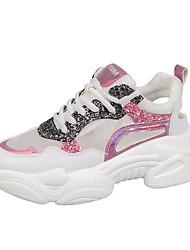 Недорогие -Жен. Сетка Лето Спортивные Спортивная обувь Беговая обувь Микропоры Круглый носок Пайетки Синий / Розовый / Контрастных цветов