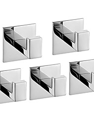 cheap -Robe Hook New Design / Self-adhesive / Creative Contemporary / Modern Stainless Steel / Stainless steel / Metal 5pcs - Bathroom Wall Mounted