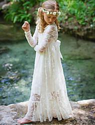 Недорогие -Дети Девочки Милая Богемный Белый Жаккард Кружева Длинный рукав Макси Платье Бежевый