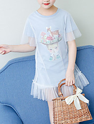 tanie -Dzieci Brzdąc Dla dziewczynek Aktywny Śłodkie Niebieski Solidne kolory Kreskówki Wielowarstwowy Siateczka Krótki rękaw Nad kolano Bawełna Poliester Sukienka Jasnoniebieski