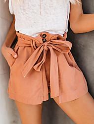 baratos -Mulheres Temática Asiática Perna larga Calças - Sólido Laranja Camel M L XL