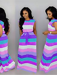 preiswerte -Damen Grundlegend Kaftan Kleid - Patchwork, Gestreift Maxi