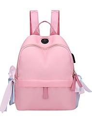 halpa -Naisten Vetoketjuilla Backpack Suuri tilavuus Nylon / PU Uima-allas / Musta / Punastuvan vaaleanpunainen