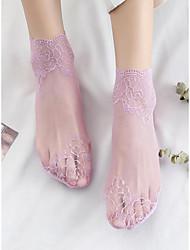 Недорогие -Жен. Тонкая ткань Носки - Кружева 30D Розовый Серый Хаки Один размер