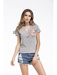 Χαμηλού Κόστους -Γυναικεία T-shirt Μονόχρωμο Patchwork Γκρίζο US2