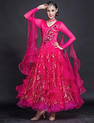 저렴한 -볼륨 댄스 드레스 여성용 트레이닝 / 성능 튤 / 아이스 실크 자수장식 / 스플리트 조인트 / 크리스탈 / 라인석 긴 소매 드레스