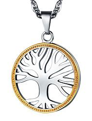 ieftine -Bărbați Pentru femei Răsucit Coliere cu Pandativ Lănțișor Charm Colier 18K Placat cu Aur Oțel titan Copacul Vieții Simplu Modă Argintiu 55 cm Coliere Bijuterii 1 buc Pentru Absolvire Cadou Zilnic