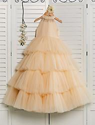 저렴한 -공주 바닥 길이 플라워 걸 드레스 - 튤 민소매 홀터 넥 와 비즈 으로 LAN TING BRIDE®