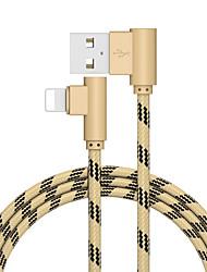 Недорогие -2,0 м (6,5 футов) от молнии к USB-кабелю плетеный быстрая зарядка USB-кабель из нержавеющей стали / цинкового сплава для iphone Ipad