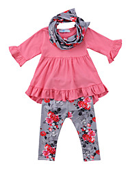 cheap -Kids Toddler Girls' Active Basic Floral Long Sleeve Cotton Spandex Clothing Set Fuchsia