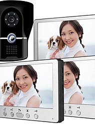 Недорогие -815fg13 ультратонкий 7-дюймовый проводной видео дверной звонок HD вилла один на три визуальный домофон наружный блок ночного видения функция разблокировки дождя