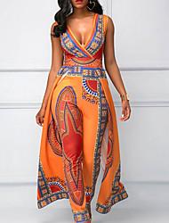 Недорогие -Жен. Оранжевый Комбинезоны, Геометрический принт M L XL