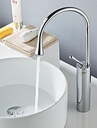 Недорогие -Ванная раковина кран - Широко распространенный черный Свободно стоящий Одной ручкой одно отверстиеBath Taps