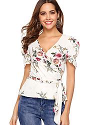 Χαμηλού Κόστους -Γυναικεία Μπλούζα Φλοράλ Λευκό US12
