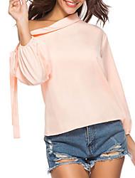 billige -Dame - Ensfarvet Blondér Gade / Elegant Skjorte Lyserød US0