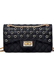 Χαμηλού Κόστους -Γυναικεία Τσάντες PU Σταυρωτή τσάντα Συμπαγές Χρώμα Μαύρο / Ρουμπίνι / Ανθισμένο Ροζ