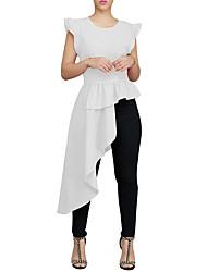 billige -Dame - Ensfarvet Drapering / Flettet / Patchwork Vintage / Elegant Skjorte Sort US0