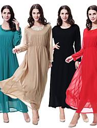 Χαμηλού Κόστους -Παραδοσιακή & Πολιτιστική Φορά Φορέματα Γυναικεία Καθημερινά Ρούχα Σιφόν Δαντέλα Μακρυμάνικο Φόρεμα