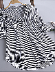 preiswerte -Damen Gestreift - Grundlegend Hemd Patchwork Schwarz US8
