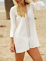 cheap -Women's Basic White Bandeau Cover-Up Swimwear - Geometric One-Size White