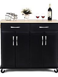 Недорогие -черная кухонная тележка с деревянным верхом и колесами