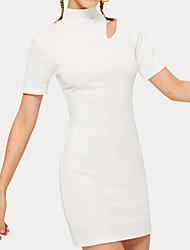 abordables -Mujer Básico Corte Bodycon Vestido - Retazos, Un Color Sobre la rodilla