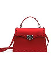 Χαμηλού Κόστους -Γυναικεία Τσάντες PU Τσάντα χειρός Συμπαγές Χρώμα Μαύρο / Ρουμπίνι / Γκρίζο