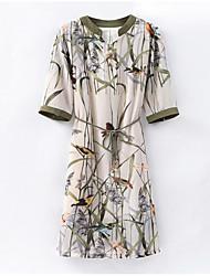 abordables -Mujer Elegante Túnica Vestido - Estampado, Floral Hasta la Rodilla