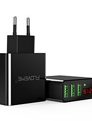 Недорогие -floveme ес / сша штекер быстрая быстрая зарядка 3 порта USB светодиодный цифровой дисплей с поддержкой телефона / стола и других устройств (черный)