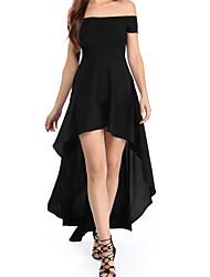 baratos -vestido assimétrico magro das mulheres fora do ombro vinho preto m m l xl