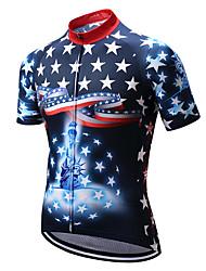 Недорогие -21Grams Американский / США Флаги Муж. С короткими рукавами Велокофты - Темно-синий Велоспорт Верхняя часть Устойчивость к УФ Дышащий Влагоотводящие Виды спорта Терилен / Слабоэластичная