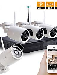 Недорогие -Комплект системы безопасности комплекта камеры видеонаблюдения 4ch беспроводной nvr