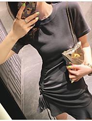 abordables -Mujer Básico Vaina Vestido - Retazos, Un Color Sobre la rodilla