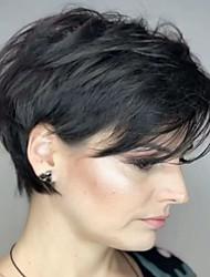 Недорогие -Человеческие волосы без парики Натуральные волосы Естественные волны / Естественный прямой Стрижка под мальчика / С чёлкой Стиль Простой / Sexy Lady / новый Короткие Без шапочки-основы Парик